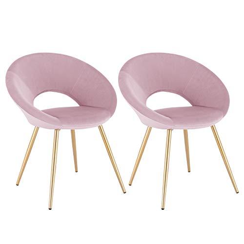 WOLTU® Esszimmerstühle BH230rs-2 2er Set Küchenstuhl Polsterstuhl Wohnzimmerstuhl Sessel, Sitzfläche aus Samt, Metallbeine, Gold+Rosa