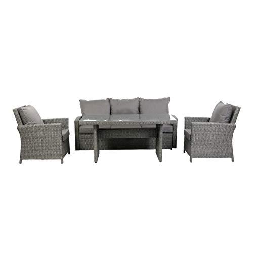 greemotion Lounge-Set Puri, anthrazitfarbenes Gartenmöbel-Set aus Polyrattan, Design-Sitzgruppe für in- und outdoor, inkl. Kissen in Grau
