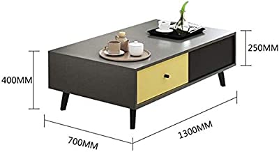 FJFZDZ Multifunction Storage Sofa Table, Parlor Coffee Read Laptop Desk, Coffee Shop TV Afternoon Tea Hospitality Table, New Year xu Z8D1Z6 (Size : 130 * 70 * 40cm)