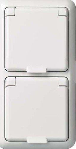 Elso 225414 Steckdose 2-Fach für Komplettgeräte Schutzkontakt IP44 Fab, reinweiß, 155x53x55 mm