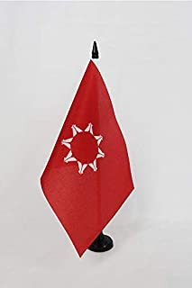 AZ FLAG Oglala Sioux Tribe Table Flag 5'' x 8'' - Oglala Lakota Desk Flag 21 x 14 cm - Black Plastic Stick and Base