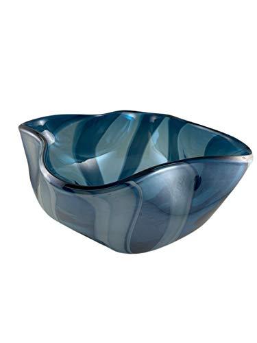 Bol, Cuenco, Centro de Mesa Decorativo de Cristal Pintado - Color azul - 12x20 cm
