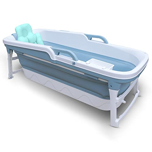 OASIS Portable Bathtub For Adults and Children | 59 INCH | Foldable Bathtub With Temperature Maintenance | Body Bath Pillow Included | Non-Slip Plastic Blue Collapsible Bathtub For Easy Storage