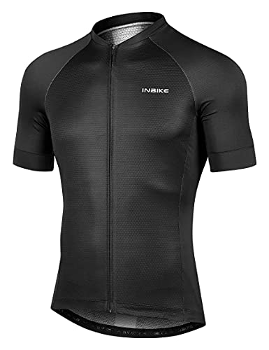 INBIKE Fahrradtrikot Herren Fahrradbekleidung Kurzarm aus Angenehm Atmungsaktiv Stoff Sommer Trikot für Fahrrad Rennrad Laufen Schwarz XXXL