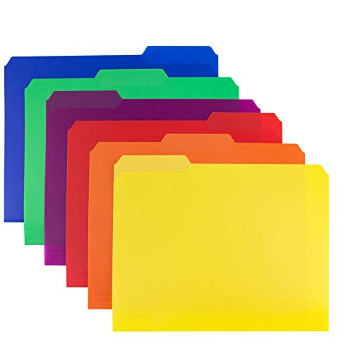 Dunwell Colored Plastic 3-TAB File Folders (6 Pack, Assorted Colors) Letter Size, 1/3-Cut Tabs, More Durable Than Manila Folders, Labels Included, Writable Erasable Top Tabs Document Filing Storage