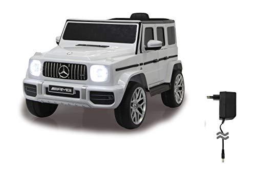Jamara 460640 Ride-on Mercedes-Benz AMG 63 12 V 2 växlar, 2 kraftfulla drivmotorer, 12 V batteri lång restid, USB, batteriindikator, mjuk uppgång, fjäderbelastad bakaxel, LED, vit