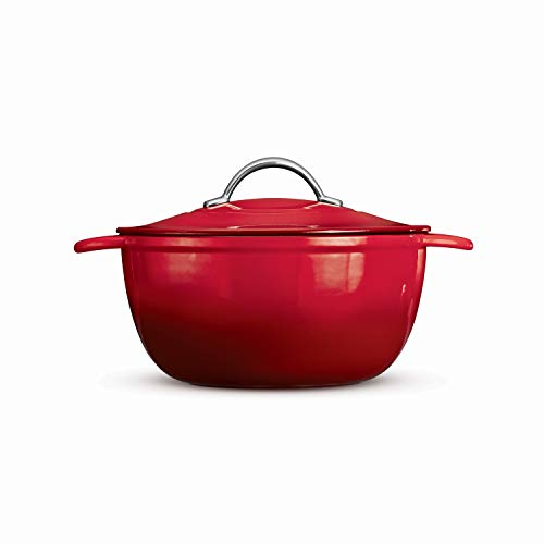 Tramontina Enameled Cast Iron Covered Oval Dutch Oven, 6.5-Quart,Gradated Red (Round)