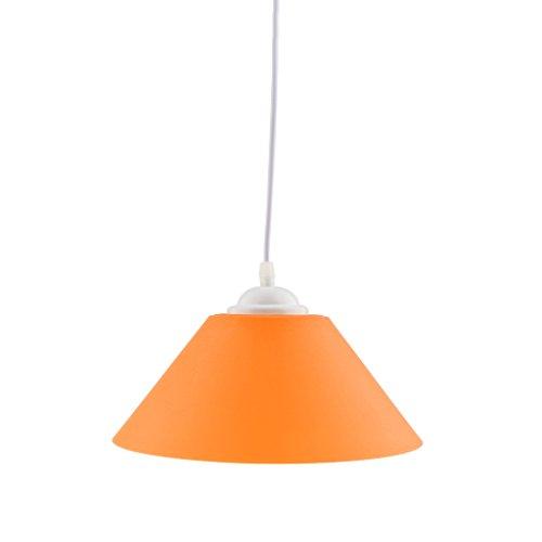 MagiDeal E27 Sombra Colgante de Lámpara de Techo Moderna Forma de Cono Decoración de Bombillas de Pasillo de Hogar de Restaurante de Cafetería - Naranja