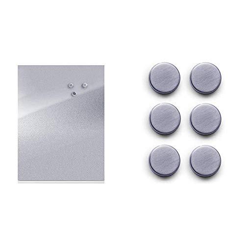 Zeller 11120 Magnettafel, Edelstahl / 40 x 60 & 11203 Magnet-Set 6-teilig, Ø 2.7 cm, Edelstahl