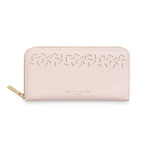 Katie Loxton Laser Cut Confetti Womens Vegan Leather Full Zip Wallet Purse Nude Pink