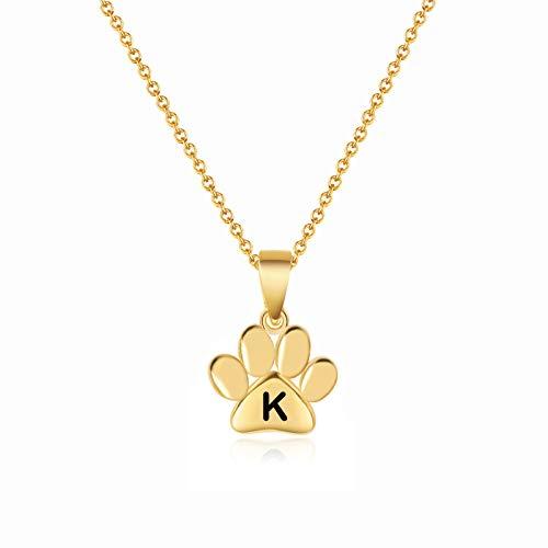 ERPELS Collar con colgante de letra hexagonal, diseño de pata de perro y mariposa, con forma de cruz dorado