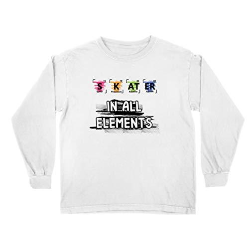 lepni.me Camiseta para Niño/Niña Patinador en Todos los Elementos Química Periódica de Mesa Deporte (3-4 Years Blanco Multicolor)