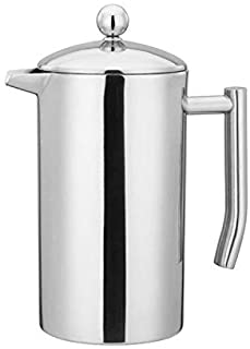 CAFÉ BREW COLLECTION High end French Press Double Wall Stainless Steel Mirror Finish (1L/34oz.) Coffee/Tea Maker: 18/10 St...