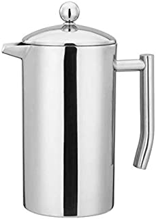 French Press Double Wall Stainless Steel Mirror Finish (1L/34oz.) Coffee/Tea Maker: 18/10 Stainless Steel, Rust-Free, Dishwasher Safe