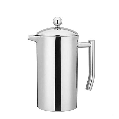 CAFÉ BREW COLLECTION High end French Press Double Wall Stainless Steel Mirror Finish (1L/34oz.) Coffee/Tea Maker: 18/10 Stainless Steel, Rust-Free, Dishwasher Safe