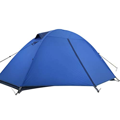 WGYDREAM Camping Tent Single Person Double Layer Outdoor Tent Waterproof Lightweight Silicone Tent Alpine snow equipment Easy Setup Tent (Color : Blue)