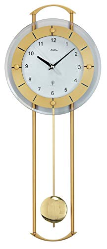AMS Funk Pendeluhr, Holz, Gold, 73 x 31 x 18 cm