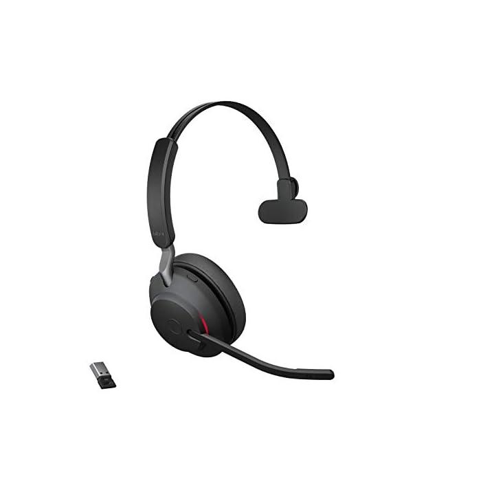 Jabra Evolve2 65 Casque PC sans Fil - Casque Mono Écouteurs Certifié UC avec Annulation du Bruit et Batterie Longue…