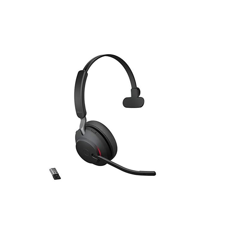 Jabra Evolve2 65 Casque Sans Fil - Casque Certifié Microsoft Teams Mono Écouteur avec Batterie Longue Durée - Adaptateur Bluetooth USB-A - Beige