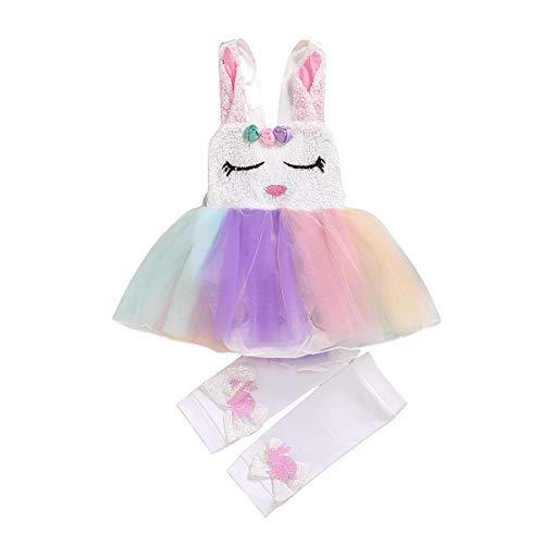 Kleinkind Kinder Baby Mädchen Ostern Kleidung Süße Kaninchen Kleid Spitze Tutu Hasen Kleider (White, 0-3 Months)
