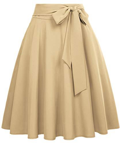 High Waisted Aline Skirts for Women Vintage Skirt Swing Skirt Khaki Skirt, L