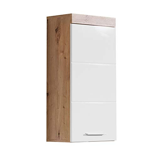 trendteam smart living Badezimmer Hängeschrank Wandschrank Amanda, 37 x 77 x 23 cm in Asteiche / Weiß Hochglänzend mit viel Stauraum