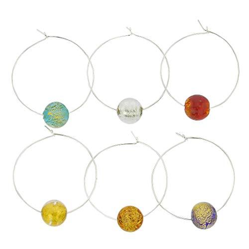 Murano Glas Ca D`Oro Weinglas Charms 6er Set
