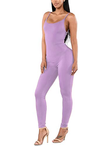 Amilia Womens Spaghetti Strap Bodycon Tank One Piece Jumpsuits Rompers Playsuit (S, Light Purple)