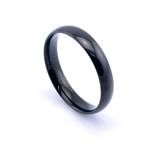 Vault 101 Limited Black Anodized Men's Women's Stainless Steel High Polish Band Ring (4mm Wide - Size Q)