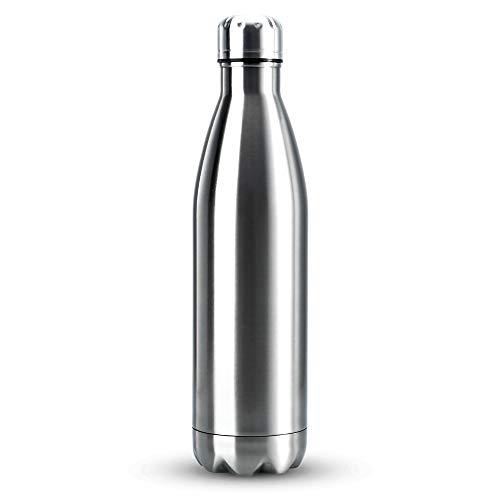 Intirilife Botella de vacío 750 ml en Plata - Termos de Acero Inoxidable Botella de vacío a Prueba de Fugas Perfectamente Adecuado para Bebidas frías y Calientes - Viajes Camping Agua Té Café