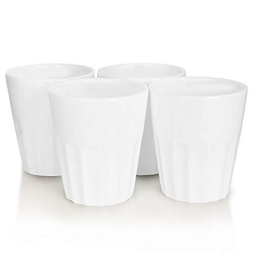 Mahlwerck Porzellan Cappuccino-Tassen, Kaffee-Becher French Style, weiß, 280ml, 4er Set