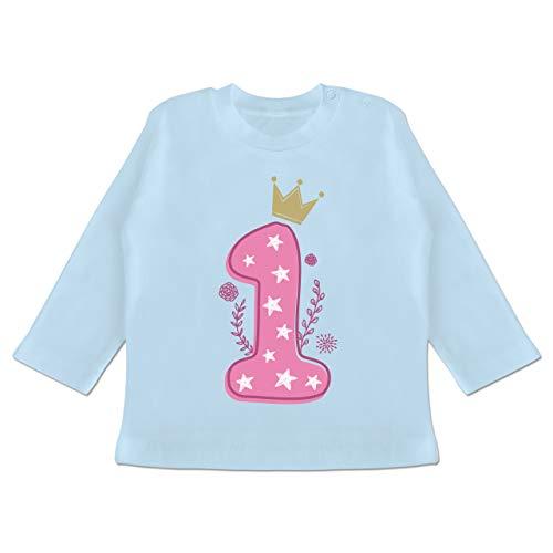 Shirtracer Geburtstag Baby - 1. Geburtstag Mädchen Krone Sterne - 3/6 Monate - Babyblau - Tshirt 1. Geburtstag mädchen - BZ11 - Baby T-Shirt Langarm