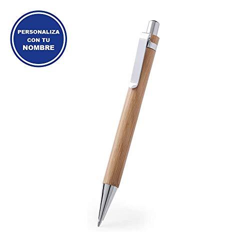 Elegante Bolígrafo para Regalar PERSONALIZADO (Nombre o Texto) • Boligrafos Bonitos con cuerpo de Bambú Natural • Boligrafos para Regalar Economicos y Originales
