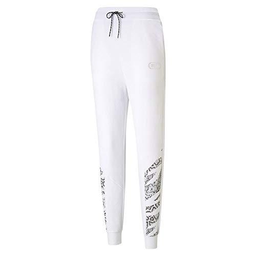 PUMA Rebel High Waist Pants TR Cl Chándal, Mujer, White-Castlerock, M