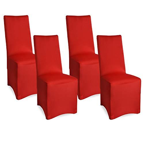 Beautissu Bankett Stuhlhussen 4er Set 45x90 cm - Leona Elegante Stretch Hussen für Stühle -Elastische Stuhl Überzüge im Set mit ÖKO-TEX Siegel in Rot