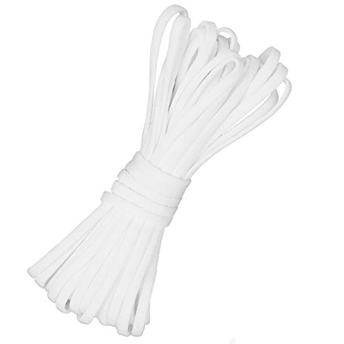 VANELC 50 Yards Elastic Band 1/8 Inch Elastic Cord, White Braided Elastic Rope Elastic Spool Elastic String Heavy Stretch High Elasticity for Sewing Crafts,DIY Ear Band Loop