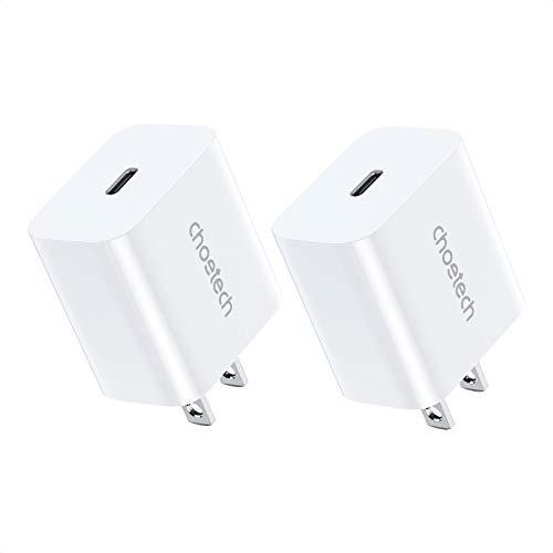 【2個セット】CHOETECH USB-C 急速充電器 20W USB type c PD 充電器 ACアダプター 超小型 軽量 コンパクト スマホ充電器【PSE認証済/Power Delivery3.0/QC 3.0対応】iPhone 12/12 Pro Max/12 Pro/12 Mini/iPad Pro/iPad Air/Galaxy/Huawei/Pixel/Xperia/タブレット/ゲーム機等 各種機器対応