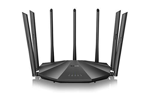 Tenda AC23 – AC2100 - Router WiFi Gigabit de Doble Banda (7 x 6dBi External, 2,4 GHz & 5 GHz, 4 Puertos Gigabit, MU-MIMO, para Fibra de óptica, Red Host IPV6)