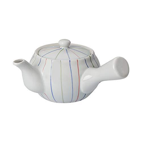 Teekanne aus Keramik – Kyusu Teekanne mit Teesieb und Deckel – Japanische Teekannen weiß mit Seitengriff und Edelstahlbeizer für losen Tee (350 ml)