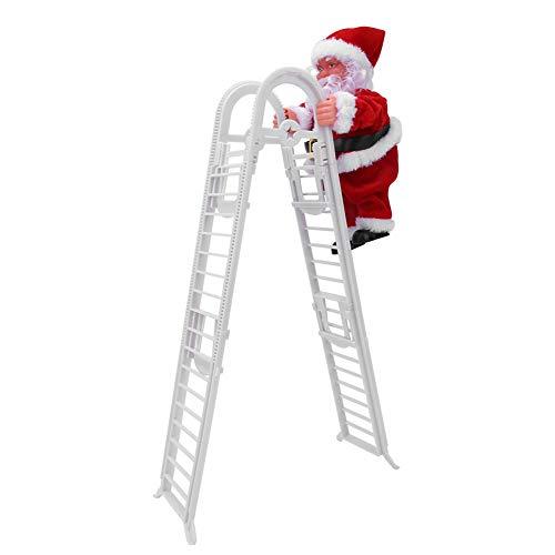 01 Entzückende Musikpuppe, Weihnachtsmann, für Weihnachtshaus(Upgraded Double Ladder (Sufficient Stock))