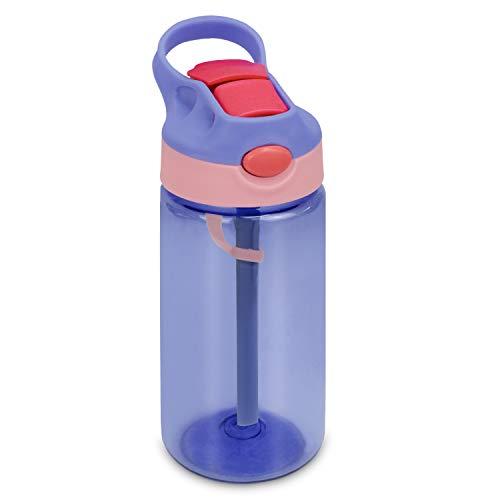Bioasis Botella de Agua para niños de 480 ml, botella para niños a partir de 36 meses, sin BPA, Tazas para niños aisladas de derrames con Pajita para Viajes Escolares, púrpura