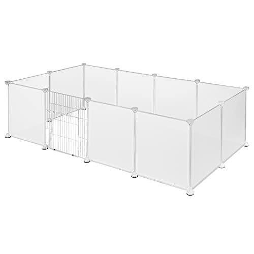 EUGAD Freigehege für Kaninchen Hasen Meerschweinchen Welpenauslauf mit Tür DIY 12 Platten Weiß 142 x 72 x 45 cm 0009WL