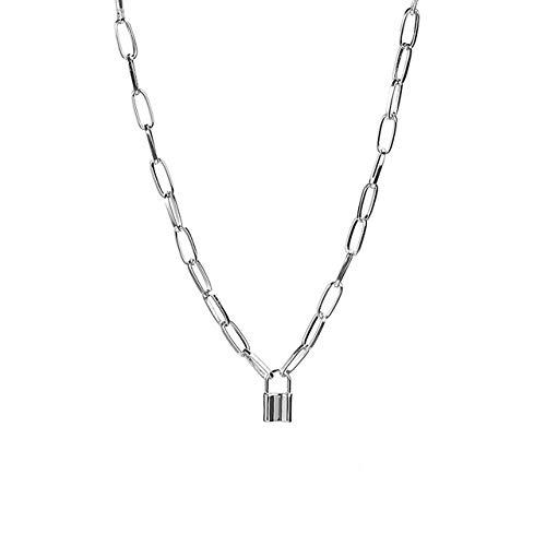 Lock Key Pendant Punk Necklace Long Chain Choker Necklace for Women Men