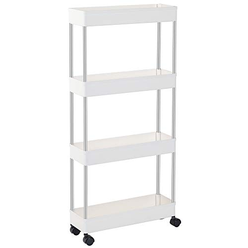 EXILOT Slim Storage Cart, 4 Tier Bathroom Organizers Slide Out Storage Shelves Mobile Shelving Unit Organizer Rolling Utility Cart with Casters Wheels for Bathroom Kitchen Laundry Narrow Places