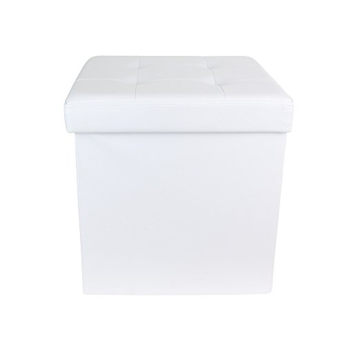 THE HOME DECO FACTORY Coffre Pouf Pliable PU Blanc M4, Polyuréthane, 37, 5x37,5 cm