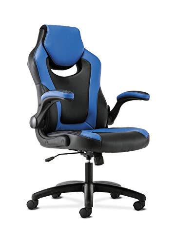 Sadie Racing Gaming Computer Chair- Flip-Up Arms, Black and Blue Leather (HVST913) blue chair gaming