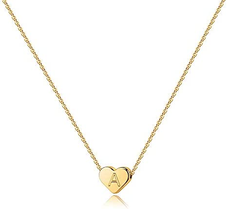 Heart Initial Necklaces for Women Girls – 14K Gold Filled Heart Pendant Letter Alphabet Necklace Tiny Initial Necklaces for Women Kids Child Heart Letter Initial Necklace Birthday Gifts for Girls