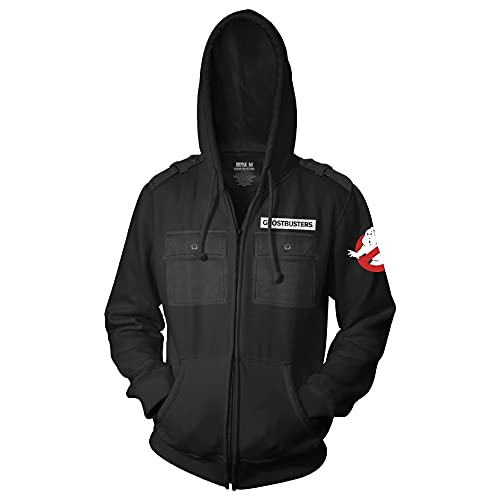 Ghostbusters Adult Military Zip Hoodie, Black with No Ghost Logo, XS to XXL