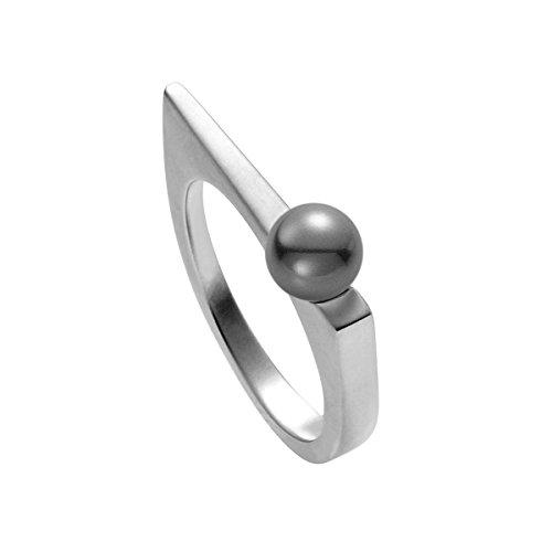 Heideman Ring Damen aus Edelstahl Silber farbend matt Damenring für Frauen mit Swarovski Perle grau rund 6mm