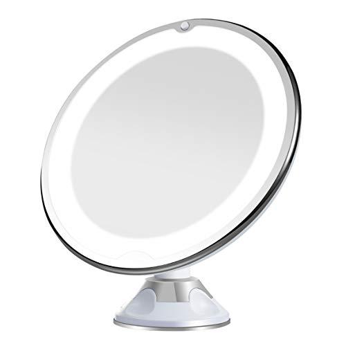 Artemis 10x Aumento Espejo con Luz Led Espejo de Aumento Espejo de baño para maquillarse depilarse con 360° Giro Ventosa